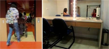 montagem de 2 fotos. 1 delas é entrada para a sala que dá acesso aos camarins e tem uma rampa em madeira. Mostra 1 rapariga e um homem em cadeira de rods a passarem pela rampa. a 2 foto mostra um camarim com uma bancada e contem um lava-mãos. Em cima deste em um espelho grande